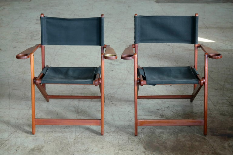 Mid-20th Century Pair of Danish Midcentury Folding Deck Chairs in Solid Teak For Sale