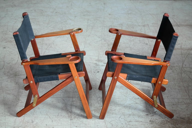 Pair of Danish Midcentury Folding Deck Chairs in Solid Teak For Sale 1
