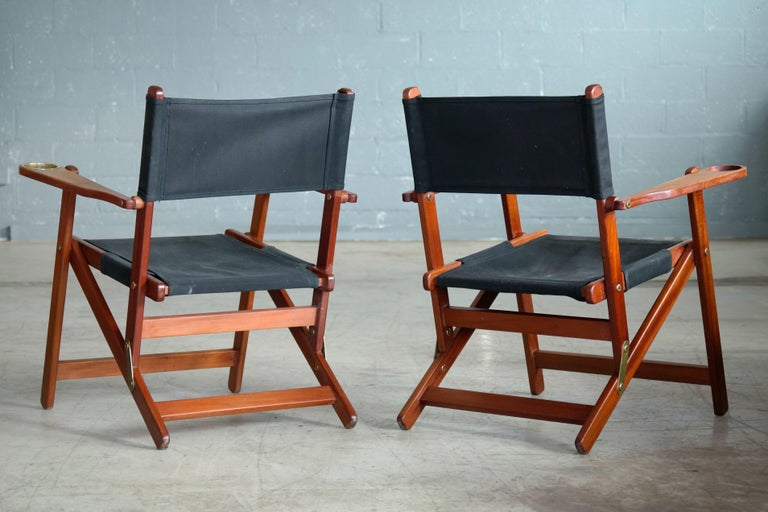Pair of Danish Midcentury Folding Deck Chairs in Solid Teak For Sale 2