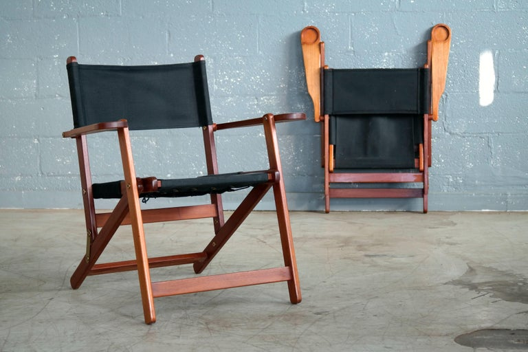 Pair of Danish Midcentury Folding Deck Chairs in Solid Teak For Sale 3