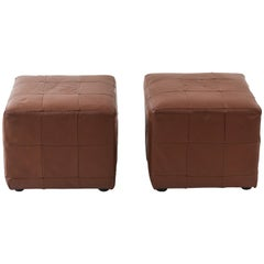 Pair of Danish Midcentury Leather Cube Ottomans