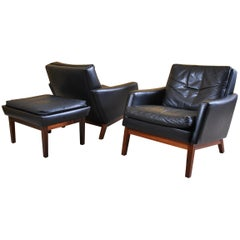 Pair of Danish Midcentury Leather Lounge Chairs and Ottoman