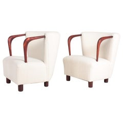 Pair of Danish Midcentury Lounge Chairs with Boucle, 1940s