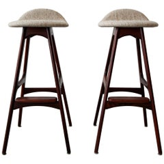 Pair of Danish Midcentury Rosewood Bar Stools by Erik Buch