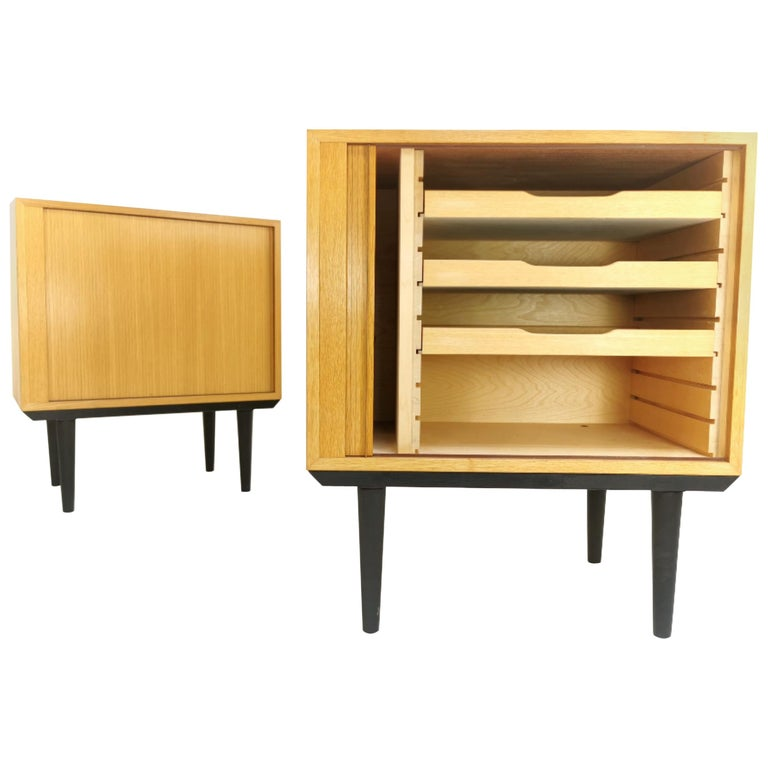 Pair of Danish Midcentury Tambour Cabinets by Hundevad, 1970s For Sale