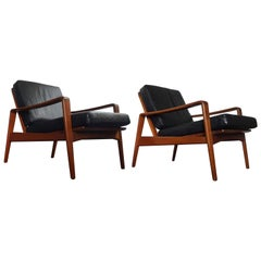 Pair of Danish Modern 1960s Teak Lounge Easy Chairs by Arne Wahl Iversen