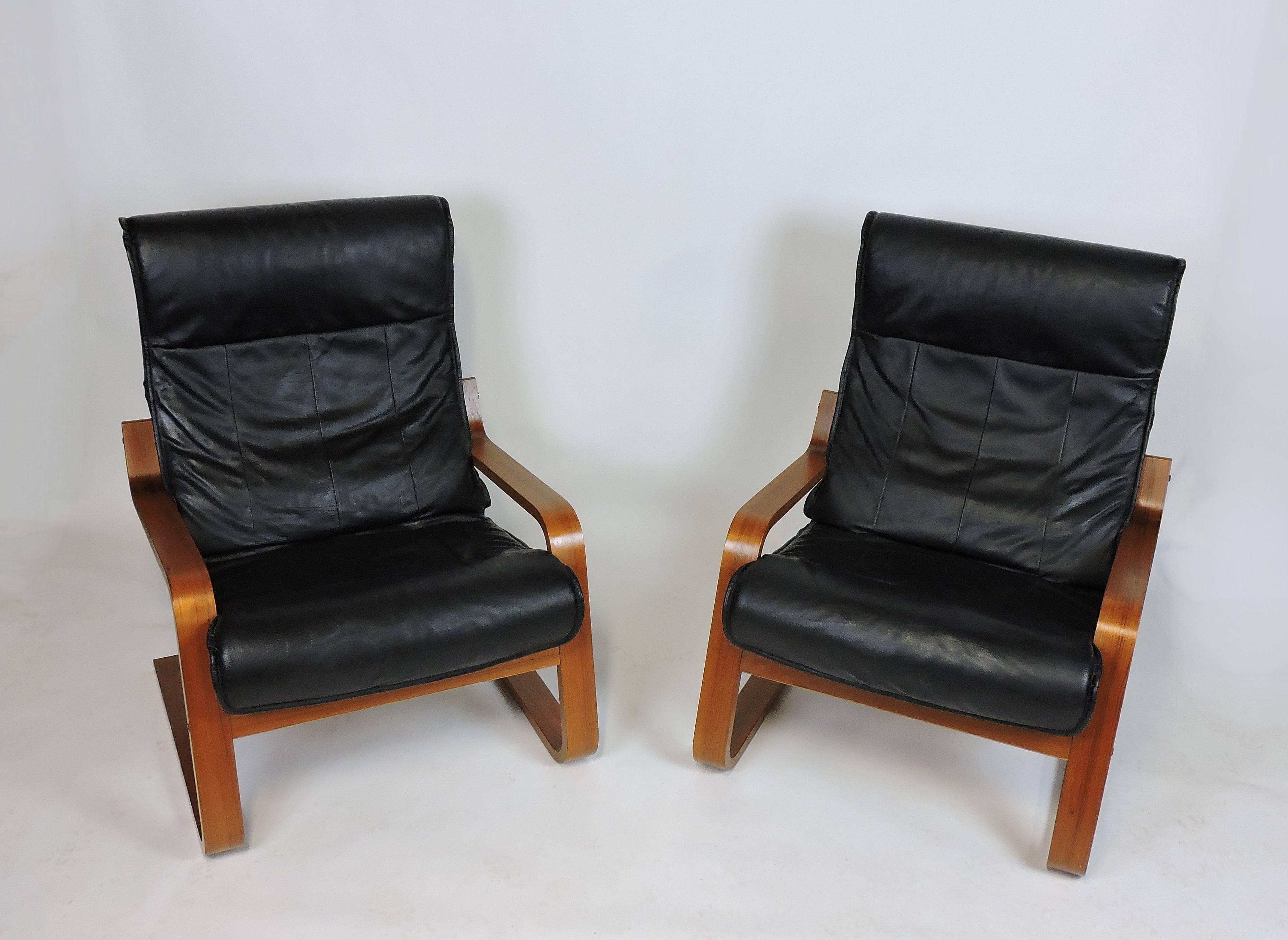 Tremendous Pair Of Danish Modern Alvar Aalto Style Cantilevered Teak Theyellowbook Wood Chair Design Ideas Theyellowbookinfo