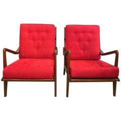 Pair of Danish Modern Arm Lounge Chairs in the Manner of Ib Kofod-Larsen