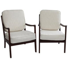 Pair of Danish Modern Armchairs by Ole Wanscher for France & Daverkosen