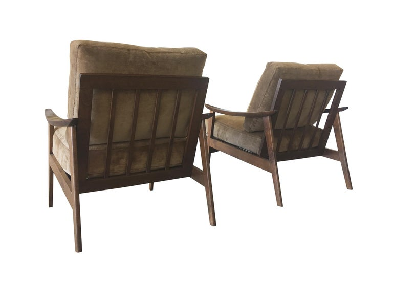 Pair of Danish Modern Armchairs with New Schumacher Velvet For Sale 5