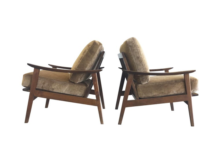 Scandinavian Modern Pair of Danish Modern Armchairs with New Schumacher Velvet For Sale