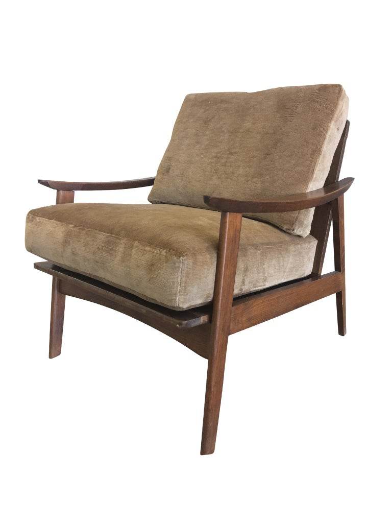 20th Century Pair of Danish Modern Armchairs with New Schumacher Velvet For Sale