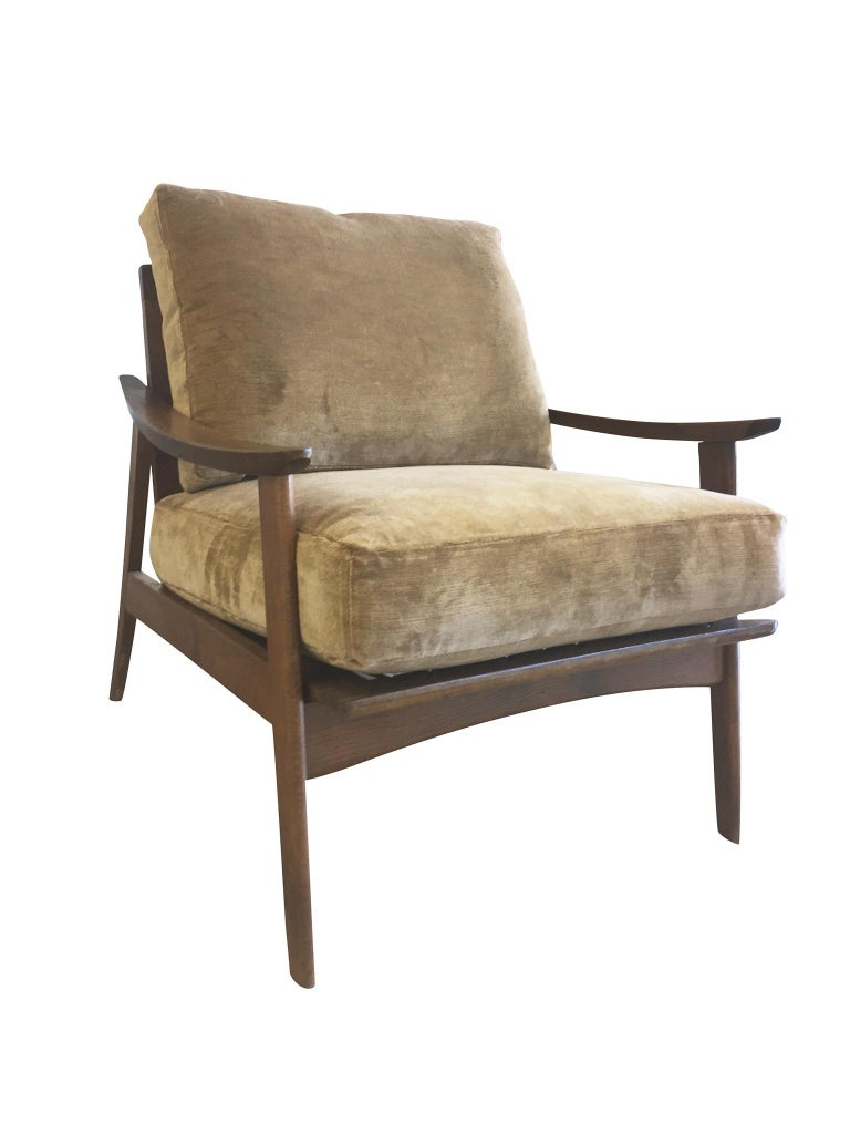 Pair of Danish Modern Armchairs with New Schumacher Velvet For Sale 1