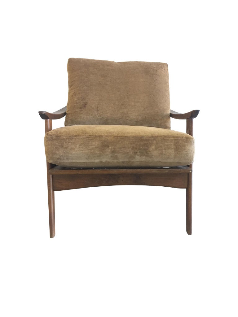 Pair of Danish Modern Armchairs with New Schumacher Velvet For Sale 2