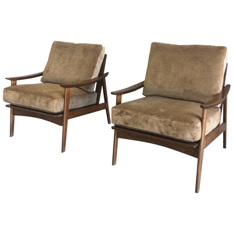 Pair of Danish Modern Armchairs with New Schumacher Velvet For Sale