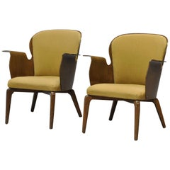 Pair of Danish Modern Bentwood 1950s Lounge Chairs by Hans Olsen