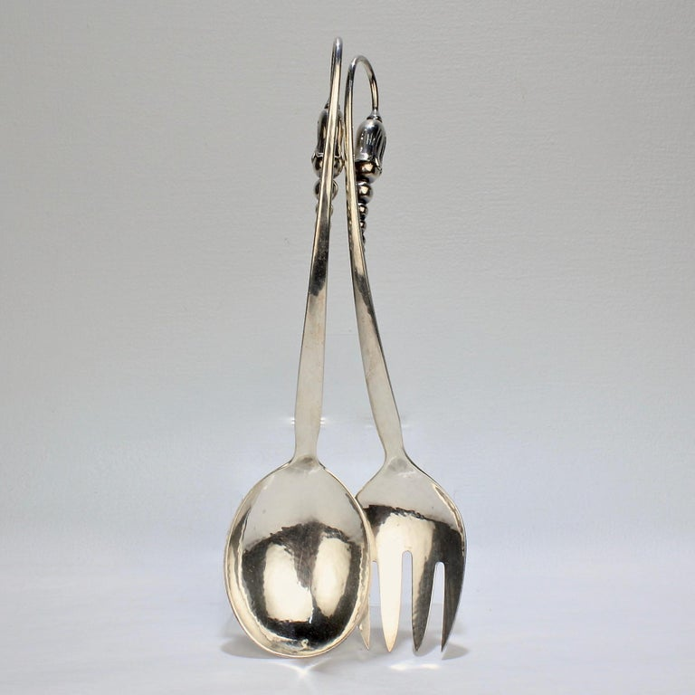 Pair of Danish Modern Blossom Sterling Silver Salad Servers by O V Mogensen For Sale 3