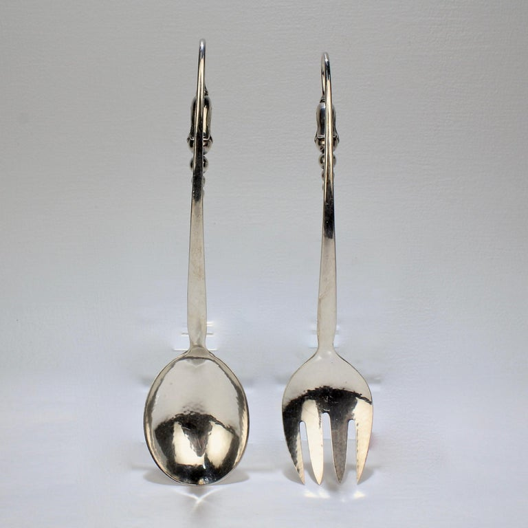 Pair of Danish Modern Blossom Sterling Silver Salad Servers by O V Mogensen For Sale 4