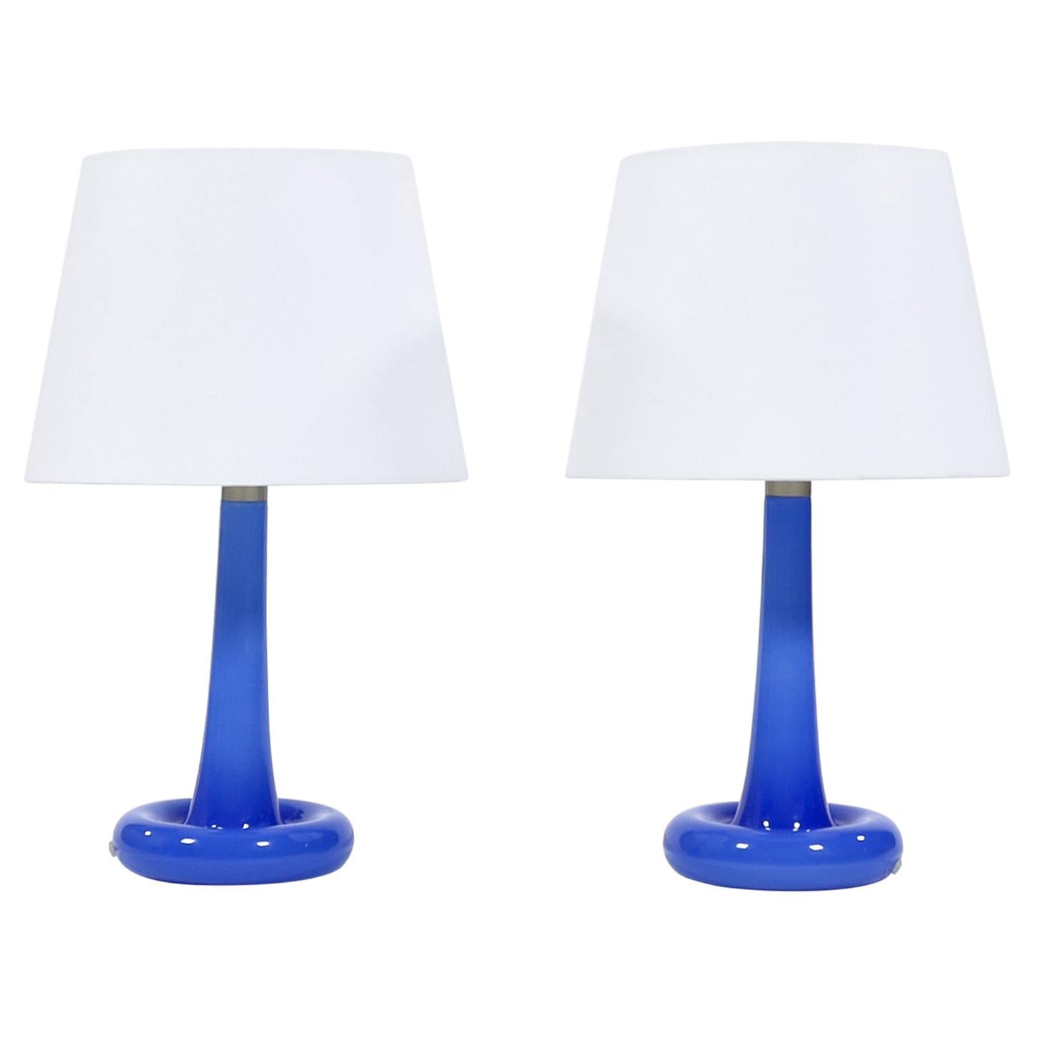 Pair of Danish Modern Blue Glass Table Lamps by Holmegaard Glassworks, 1975