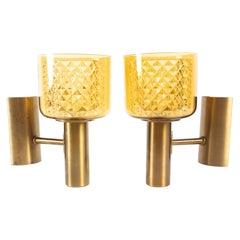Pair of Danish Modern Brass Sconces by Lyfa, 1960s