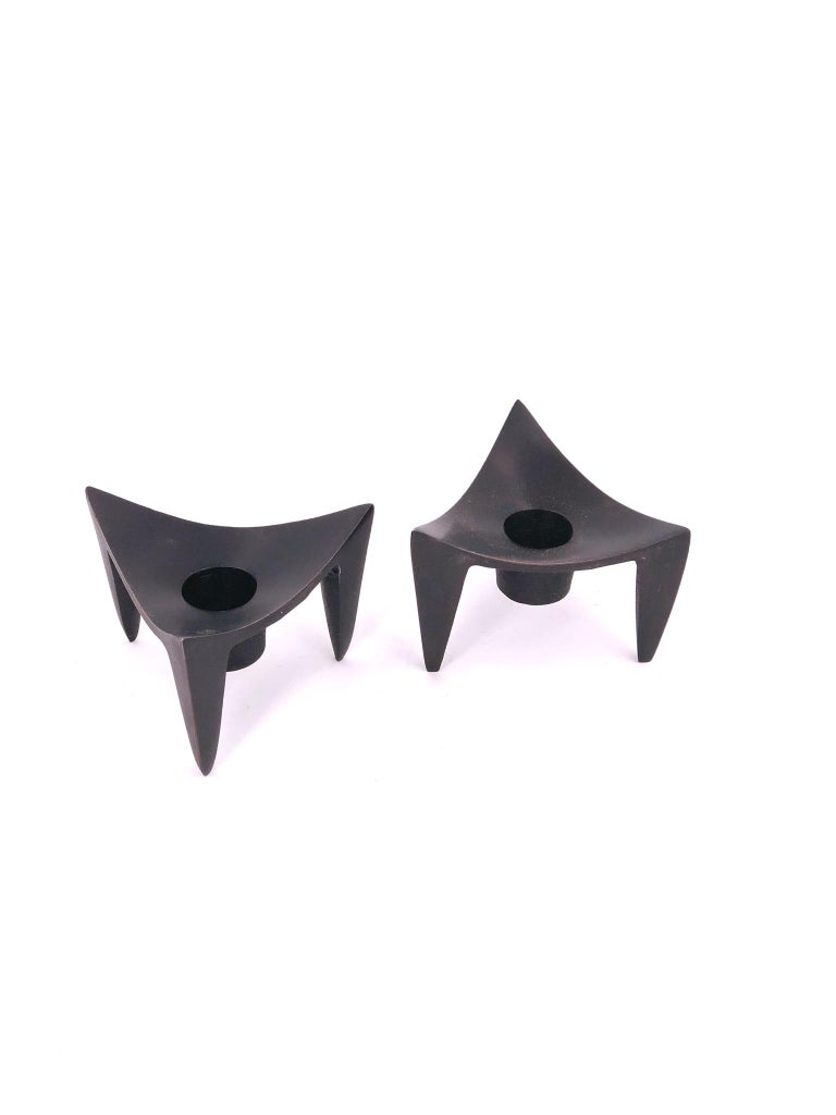 Great design on these pair of candleholders designed by Quistgaard for Dansk circa 1970s, in cast aluminum and black enameled finish ,  each candleholder fits a 1