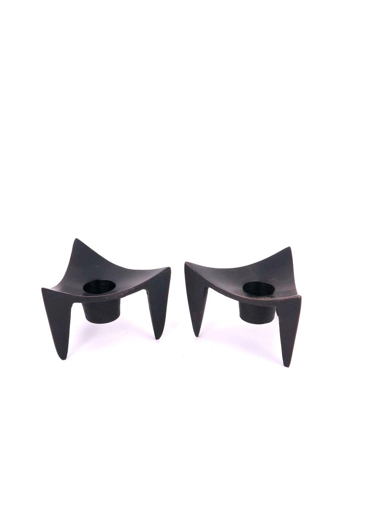 Scandinavian Modern Pair of Danish Modern Cast Metal Candleholders Designed by Quistgaard for Dansk For Sale