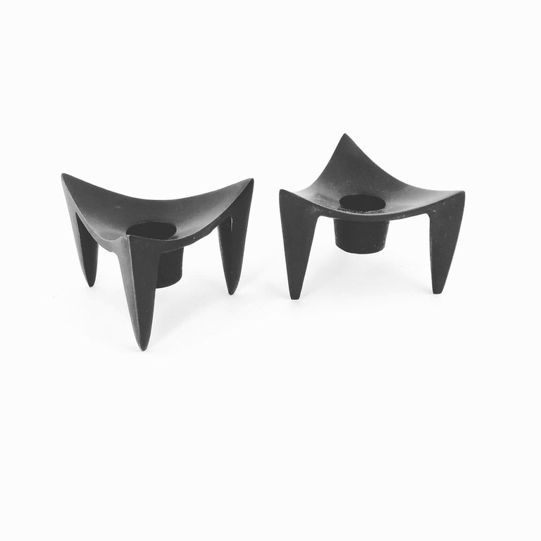 20th Century Pair of Danish Modern Cast Metal Candleholders Designed by Quistgaard for Dansk For Sale