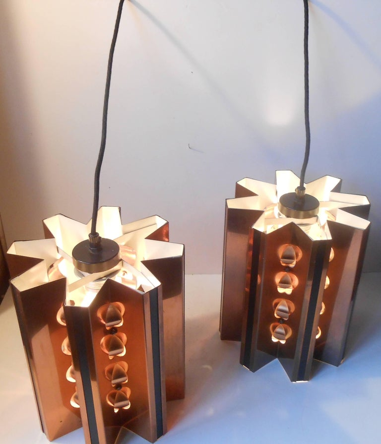 Pair of Danish Modern Copper Ceiling Lights by Verner Schou for Coronell For Sale 1