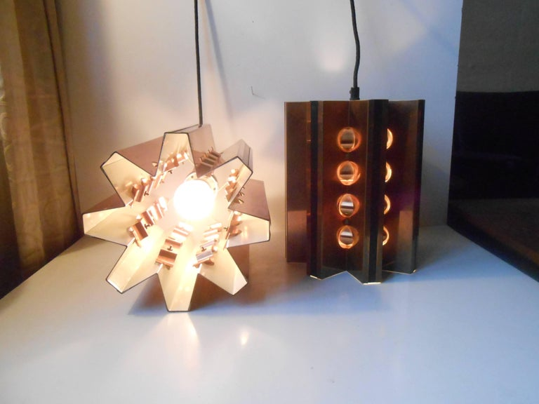 Pair of Danish Modern Copper Ceiling Lights by Verner Schou for Coronell For Sale 2