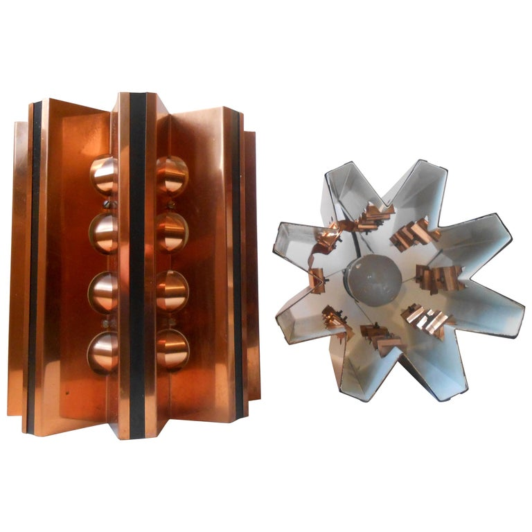 Pair of Danish Modern Copper Ceiling Lights by Verner Schou for Coronell For Sale