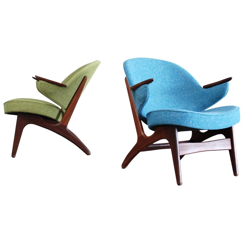 Carl Edward Matthes Pair of Danish Modern Easy Lounge Chair, 1960s