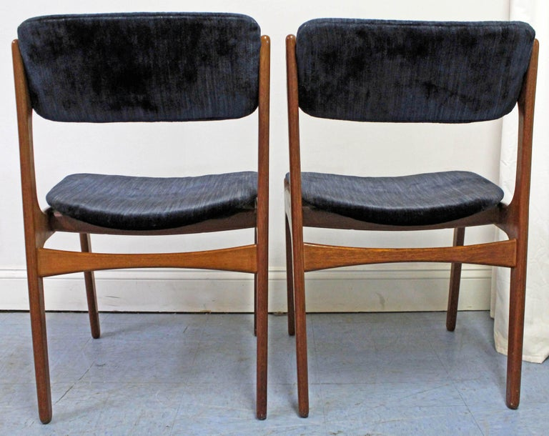 Pair of Danish Modern Erik Buch for O.D. Møbler Teak Dining Chairs In Fair Condition For Sale In Wilmington, DE