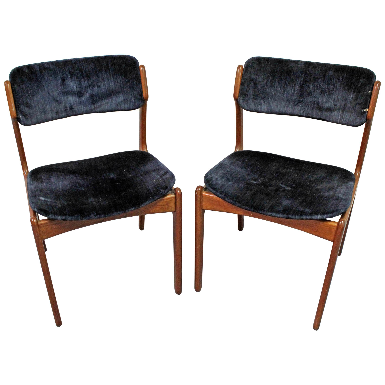 Pair of Danish Modern Erik Buch for O.D. Møbler Teak Dining Chairs