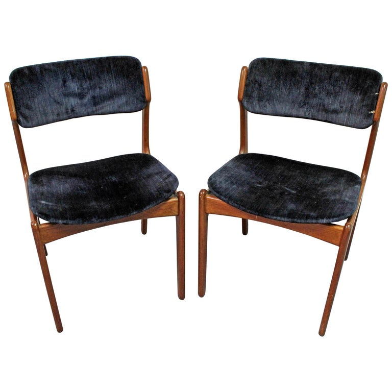 Pair of Danish Modern Erik Buch for O.D. Møbler Teak Dining Chairs For Sale