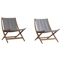Pair of Danish Modern Folding Chairs by Johan Hagen in Oak and Canvas, 1958