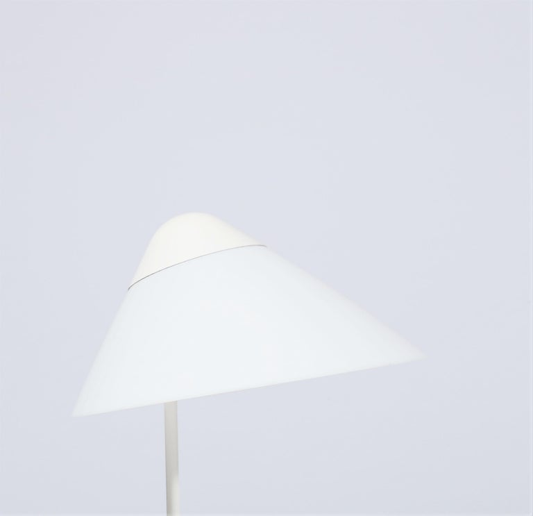 Rare and beautiful pair of white table lamps by Hans J. Wegner for Louis Poulsen, Denmark. Model
