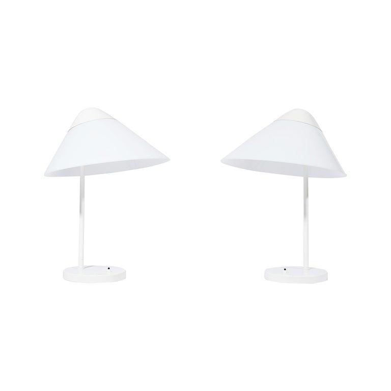 """Pair of Danish Modern Hans J. Wegner """"Opala"""" Table Lamps, Louis Poulsen, 1970s For Sale"""