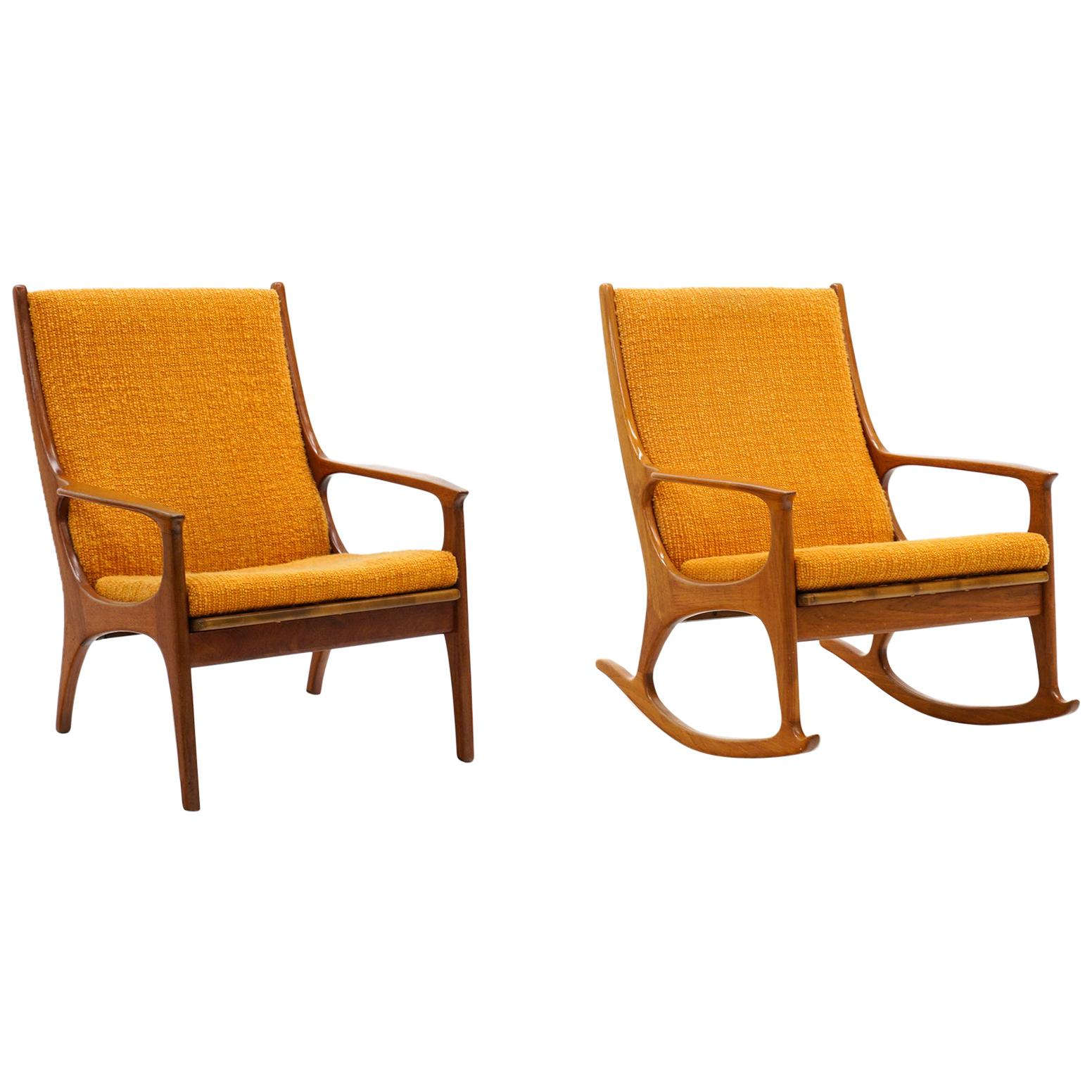 Pair of Danish Modern High Back Lounge Chairs, One Rocker, Teak Orange Originall