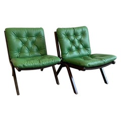 Pair of Danish Modern Leather Lounge Chairs