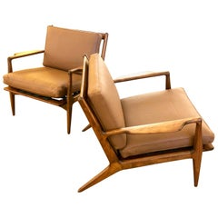 Pair of Danish Modern Lounge Chairs by Ib Kofod-Larsen in Leather