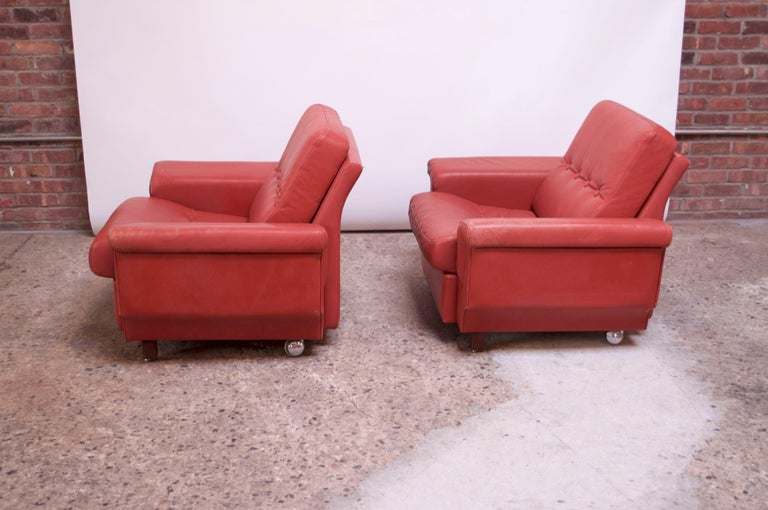 Stained Pair of Danish Modern Lounge Chairs in Cinnabar Leather For Sale