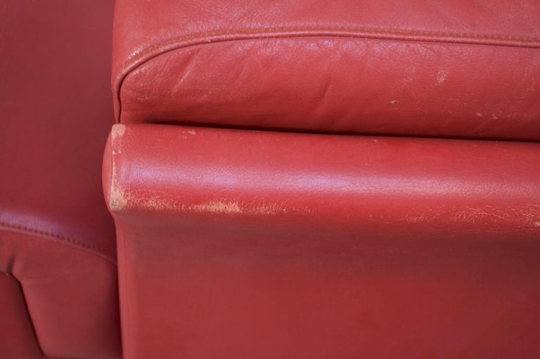 Mahogany Pair of Danish Modern Lounge Chairs in Cinnabar Leather For Sale
