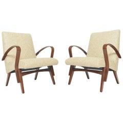 Pair of Danish Modern Lounge Chairs in Creme Wool