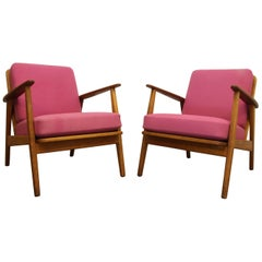 Pair of Danish Modern Lounge Chairs in Oak, 1960s