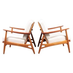 Pair of Danish Modern Lounge Chairs in Teak and Boucle by Johannes Andersen