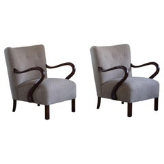 Pair of Danish Modern Lounge Chairs with New Fabric by Alfred Christensen, 1940s