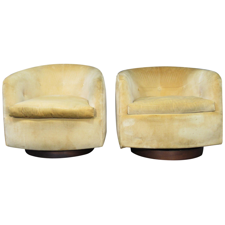 Pair of Danish Modern Milo Baughman Style Swivel Club Chairs with Teak Bases