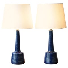 Pair of Danish Modern Palshus Le Klint Blue Table Lamps with Lampshades, 1960s