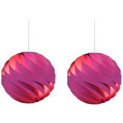 Pair of Danish Modern Pink Pendants Model Turbo 1 by Louis Weisdorf for Lyfa