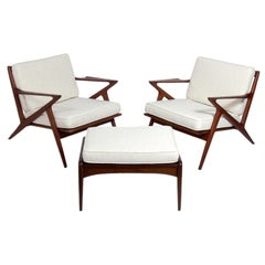 Pair of Danish Modern Poul Jensen Z Lounge Chairs and Ottoman
